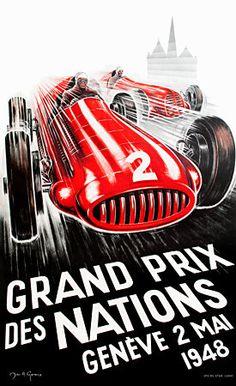 Exciting Swiss Motor Grand Prix 1948 vintage poster  http://vintagevenus.com.au/products/vintage_poster_print-tr483