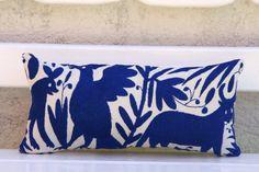 Cobalt blue Folk Art Pillow Sham-Otomi lumbar Embroidery Ready to ship. Mexican Suzani