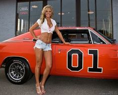 Girl and General Lee General Lee Car, Sexy Autos, Up Auto, Chevy, Chevrolet Corvette, Pin Up, Girly Car, Pt Cruiser, Daisy Dukes