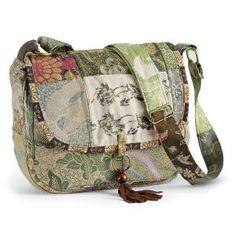 Sage Patchwork Shoulder Bag $39.95 Pyramid Collection