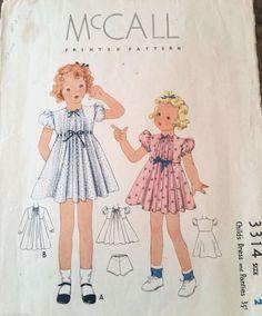Size 2 Girls Child Kids Toddler Dress Bishop Spring 1930s  Vintage Sew Pattern #McCall3314