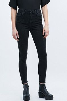 Light Before Dark Super High-Rise Skinny Jeans in Black - Urban Outfitters