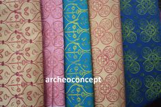 late medieval block printed silk by archeococnept , based on archaeological finds