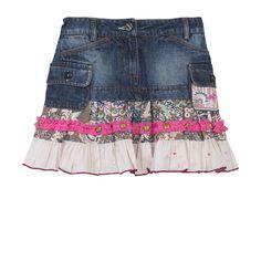 Chipie Brand Girls Denim Jean Layered Ruffle Skirt