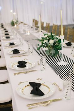 A Black & White wedding table Mary See would be proud to join, especially the bow tie napkins and striped straws