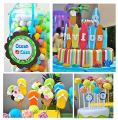 Surf Party Cupcake Toppers  Set of 12 by thepaperkingdom on Etsy, $10.00