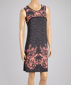 sun n moon Charcoal & Coral Floral Shift Dress by sun n moon #zulily #zulilyfinds