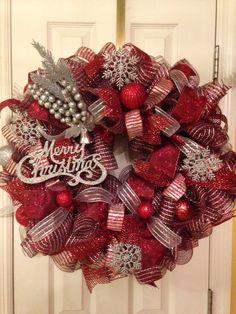 Deck the Halls Deco Mesh Christmas Wreath by PinkSugarplumCottage, $110.00