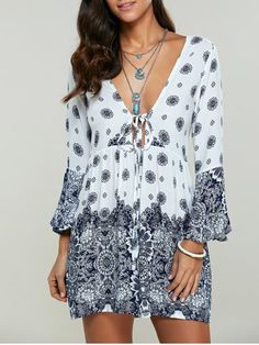 GET $50 NOW | Join RoseGal: Get YOUR $50 NOW!http://www.rosegal.com/print-dresses/tied-up-bell-sleeves-tribal-print-704415.html?seid=8940261rg704415