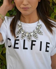 sincerely jules celfie t-shirt + crystal statement necklace