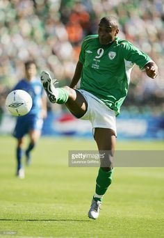 Clinton Morrison of Republic of Ireland controls the ball during the World Cup 2006 Group Four Qualifier between the Republic of Ireland and Cyprus at Lansdowne Road on September 4, 2004 in Dublin, Ireland.
