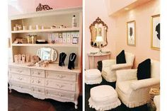Love the cameo pics on the wall and the gorgeous dresser display! Comfy pedi area!