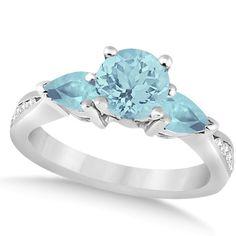 Diamond & Pear Cut Aquamarine Engagement Ring 14k White Gold (1.79ct) - allurez.com