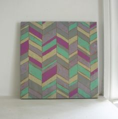 Chevron Wall Art. Sydnie wants to do this in her room