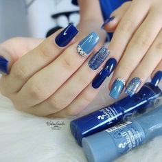Manicure Pedicure, Nail Art, Hands, Beauty, Blue Gel Nails, Long Nails, Nail Jewels, Pretty Nails, Nails Pictures
