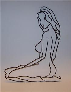nude steel art | NUDE LADY METAL WIRE Wall Art Hanging Plaque Naked Woman Girl Gift ...