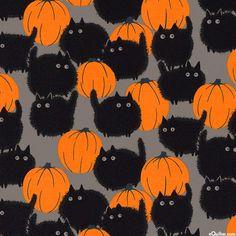 Halloween Cotton Fabric -Belinda'S Big Kitty Halloween Cotton Fabric – Belinda'S Big Kitty