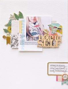 Papercrafting ideas: scrapbook layout idea. #papercraft #scrapbooking #layouts. Note To Self by Peppermint at @studio_calico