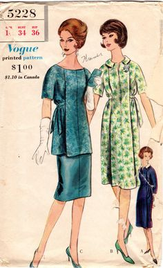 1960s Maternity Dress Pattern  Vintage Vogue 5228  by ErikawithaK