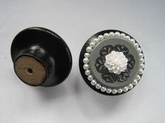 Chic dresser drawer knob in Black white and grey with by DaRosa, $7.50