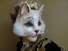 True Romance papel maché gato blanco máscara gato traje de la