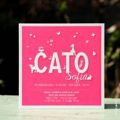Voor Cato mochten wij dit lieve geboortekaartje ontwerpen en drukken in een mooie fluor roze kleur. Door de preeg komen haar naam en de dieren omhoog. Copyright: Letterpers Voor meer informatie, mail ons!