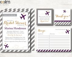 Invitation Suite - Party Printables : Travel Bridal Shower Invitation - Recipe Card - Favor Tag - Digital  - #3102 Plum, Copper, Gray