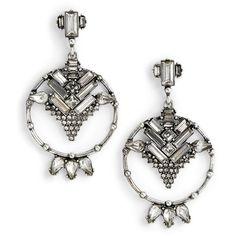 Women's Dlnlx By Dylanlex Crystal Drop Earrings featuring polyvore, women's fashion, jewelry, earrings, antiqued silver, filigree jewelry, sparkle jewelry, crystal earrings, sparkling jewellery and crystal drop earrings