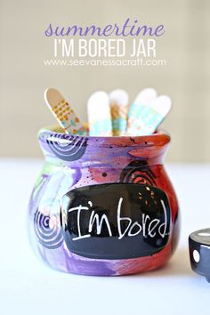 I'm Bored Jar & Washi Tape Sticks - Summer Craft Idea for Kids Craft Activities For Kids, Summer Activities, Crafts For Kids, Diy Crafts, Bored Jar, Im Bored, Conversation Starters For Kids, Summer Fun For Kids, Popsicle Sticks