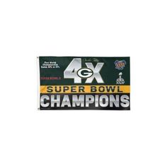 Green Bay Packers NFL 4x Super Bowl Champs Commemorative 3ftx5ft Deluxe Flag