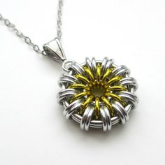 Daisy pendant necklace chainmail jewelry by TattooedAndChained
