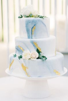36 Trendy Marble Wedding Cakes ❤ marble wedding cakes blue cake aaronandjillian #weddingforward #wedding #bride