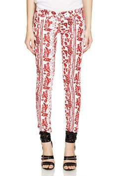 """Rebecca Minkoff, Mid Rise Bleecker Skinny Jean, $128.00, available at eBay  """"These skinny jeans feature a flattering toile print that pairs as lovely with a breezy blouse as it does a leather jacket and band tee."""""""