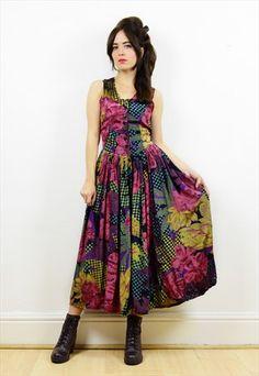 90s+metallic+floral/polka+dot+button+down+midi+dress