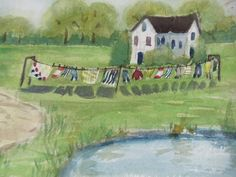 Items similar to Original Watercolor Painting Farm Life, Laundry Day by Arlene Helder on Etsy Laundry Art, Farm Art, Lost Art, Vintage Marketplace, Farm Life, Art Forms, Art Decor, Watercolor Paintings, Clothes Lines