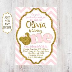 Pink and Gold Minnie Mouse First Birthday Party Invitation, 1st Birthd