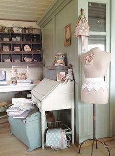 Tone Finnanger's sewing corner. Photo from tildasworld.com