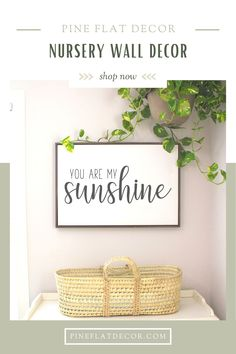 If you're looking for the perfect wall decor for the nursery, playroom or kids' bedroom this 'You Are My Sunshine Framed Canvas' is a great choice! It also looks great on a gallery wall or wherever you want to remind your loved ones how much they mean to.This sign goes with any home decor style from farmhouse to minimalist and even chic boho. It also makes a great baby shower gift for both a girl and boy nursery, or gender-neutral. Check out this wood framed sign and more at PIne Flat Decor! Playroom Decor, Nursery Room Decor, Kids Bedroom, Nursery Wood Sign, Nursery Signs, Farmhouse Nursery Decor, Modern Farmhouse Decor, Minimalist Nursery, Framed Canvas