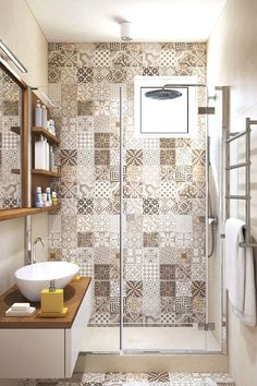 Patchwork tiles and earth tones for an apartment interior – diy bathroom decor Bad Inspiration, Bathroom Inspiration, Bathroom Ideas, Bathroom Remodeling, Remodeling Ideas, Restroom Ideas, Restroom Remodel, Bathroom Makeovers, House Remodeling
