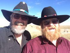 Bearded Men at Colorado Shooting range wearing Cowboy hats. Sheldon Padelio