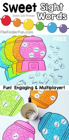 Free printable sight words game for Kindergarten.  Sweet Sight Words includes all words from the Dolch 220 Primer list for children to learn in a fun and engaging way.  Print FREE here: http://thecraftyclassroom.com/2015/11/14/kindergarten-sight-words-game/