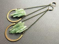 Green Kyanite Earrings Long Kyanite Earrings Raw by Chrysalism