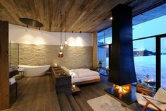 Flexible Wooden Detail for Your Hotel Interior Design : Relaxing Hotel Interior Design With Wooden Ceiling Unit