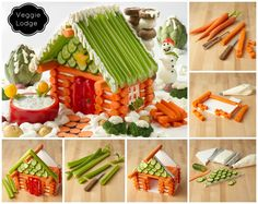 How to DIY Edible Veggie House Salad / Veggie Lodge Appetizer. Make A Gingerbread House, Christmas Gingerbread, Vegan Gingerbread, House Salad, Veggie Tray, Vegetable Trays, Veggie Plate, Yummy Veggie, Veggie Food