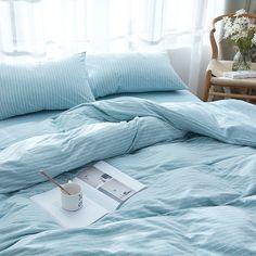 Twin/Full/Queen/King Cotton Naked Bedding Set Bedlinen Bed Sheet Striped Duvet Cover Pillowcase Flat/Fitted Bedsheet