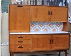 Upcycled Mid Century Vintage G Plan Highboard Retro Sideboard in Daisy Chain Decoupage by ThriftysRetro on Etsy