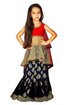 Be the Princess of the World in this midnight blue Lehenga with a gold long top …. Regal and Contemporary ! #Fashion #Kids Fashion #girls #Indian wear #Ethnic wear