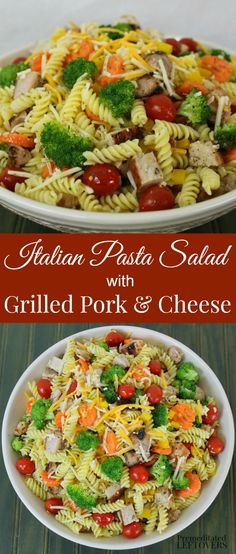 A quick and easy Italian pasta salad recipe using grilled pork, vegetables, cheese, and homemade Italian dressing. Assemble the ingredients while the pork chops are on the grill. I made this recipe as part of the Chopped at Home Challenge. Learn more about it and print this recipe here. #ad