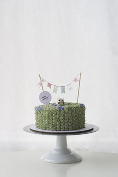 grassy green cake with fondant mini bunny and cake bunting!
