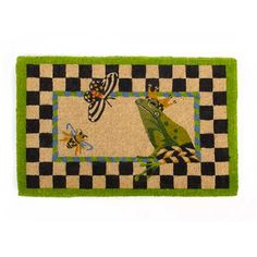 MacKenzie-Childs | Frog Entrance Mat Pheasant Run, Mckenzie And Childs, Funky Furniture, Painted Furniture, Flower Market, Rugs On Carpet, Carpets, Diy And Crafts, Butterfly